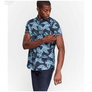 TED BAKER Blue Oversized Floral Woven Shirt Sz XL